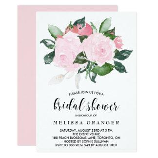 Sweet Pink Watercolor Roses Bridal Shower Card