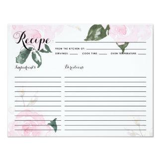 Sweet Pink Watercolor Roses Recipe Card