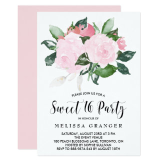 Sweet Pink Watercolor Roses Sweet Sixteen Party Card