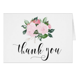 Sweet Pink Watercolor Roses Thank You Card