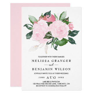 Superior Sweet Pink Watercolor Roses Wedding Invitation