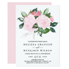 Sweet Pink Watercolor Roses Wedding Invitation at Zazzle