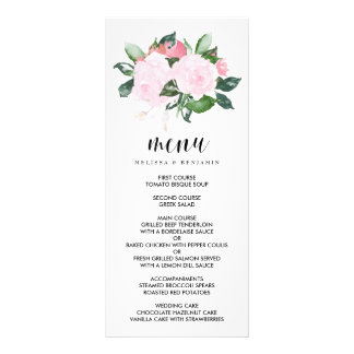 Sweet Pink Watercolor Roses Wedding Menu