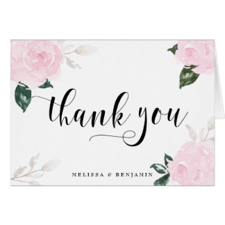 Sweet Pink Watercolor Roses Wedding Thank You Card