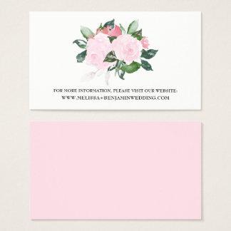 Sweet Pink Watercolor Roses Wedding Website Card
