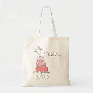 Sweet Pink Wedding Cake Bridal Custom Tote Bag