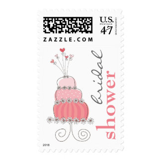 Sweet Pink Wedding Cake Chic Bridal Shower Stamps