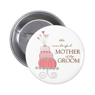 Sweet Pink Wedding Cake Name Tag Gift Button
