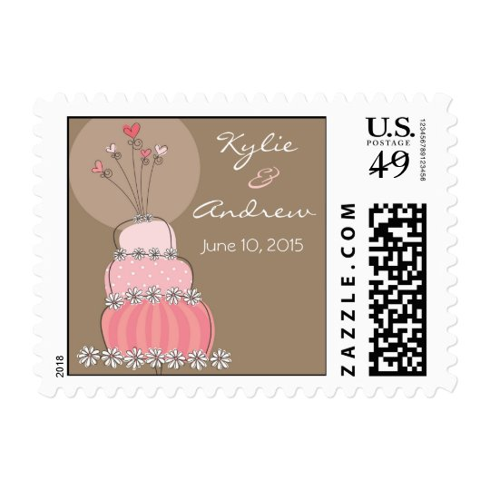 Sweet Pink Wedding Cake Save-the-Date / Invitation Postage
