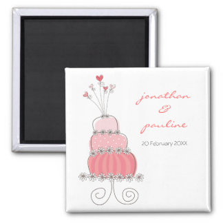 Sweet Pink Wedding Cake Whimsical Save The Date Magnet