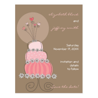Sweet Pink Wedding Cake Whimsical Save The Date Postcard