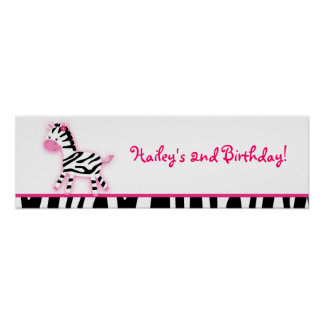 Sweet Pink Zebra Baby Shower Banner Sign Posters