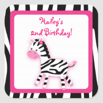 Sweet Pink Zebra Cupcake Toppers Stickers