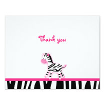 Sweet Pink Zebra Thank You Note Cards