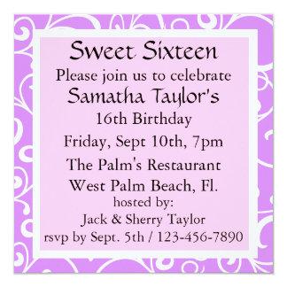 "Sweet Plum & Pink Birthday Invites 5.25"" Square Invitation Card"