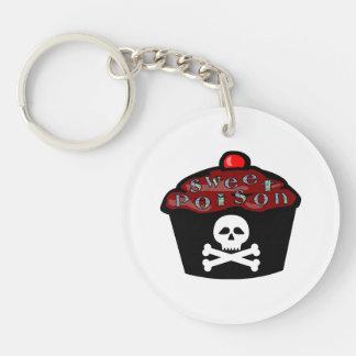 Sweet Poison Cupcake Skull & Crossbones Double-Sided Round Acrylic Keychain