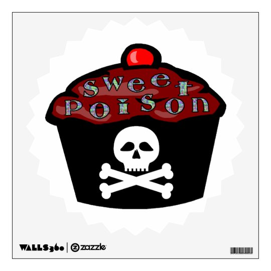 Sweet Poison Cupcake Skull & Crossbones Wall Decal
