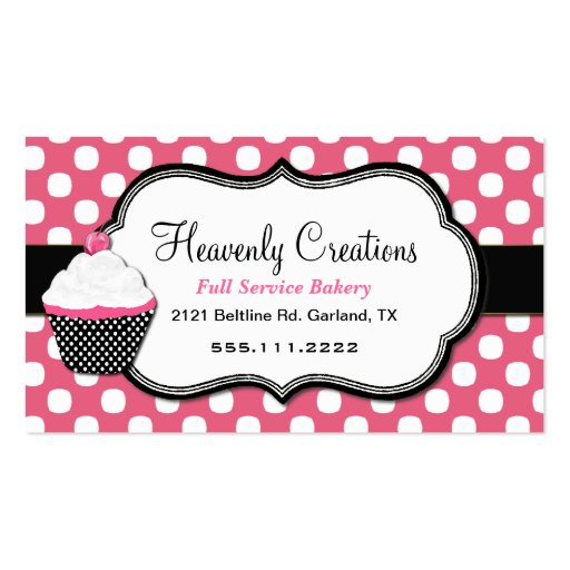 Sweet Polka Dot and Cupcake Bakery Business Card