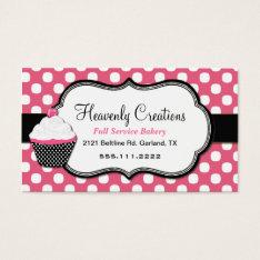 Sweet Polka Dot And Cupcake Bakery Business Card at Zazzle