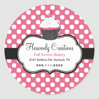 Sweet Polka Dot and Cupcake Bakery Sticker Sticker
