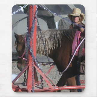 Sweet Pony and Cowgirl at County Fair Ride Mouse Pad