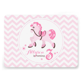 Sweet Pony with Pink Chevron Third Birthday Party Invites
