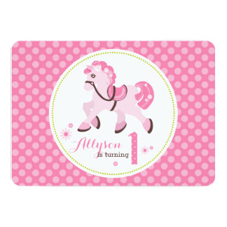 Sweet Pony with Pink Dots First Birthday Party 5x7 Paper Invitation Card