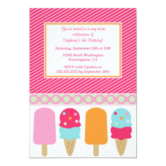 Sweet popsicles girl's birthday party invitation