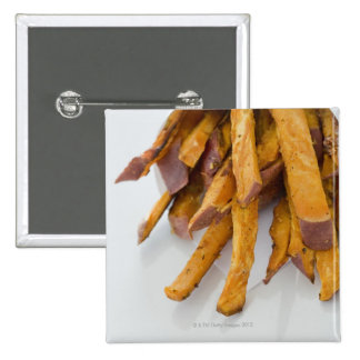 Sweet Potato fries in paper bag, close up, Pinback Button