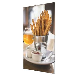 Sweet potato fries served with vinegar and canvas print
