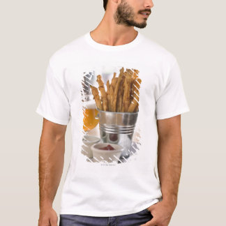 Sweet potato fries served with vinegar and T-Shirt
