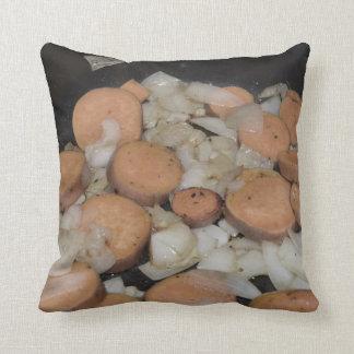 sweet potato onions frying throw pillow