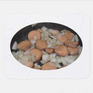 sweet potato onions frying swaddle blankets