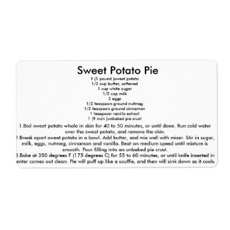 Sweet Potato Pie Recipe Label