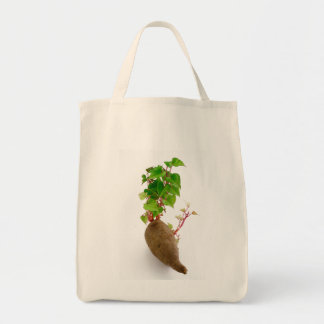Sweet potato plant sprouts tote bag