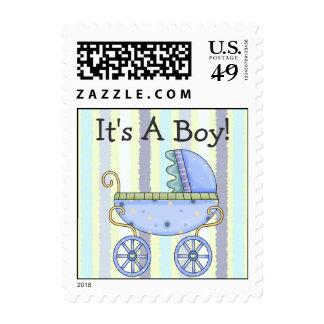Sweet Pram Baby Boy Announcement Stamp