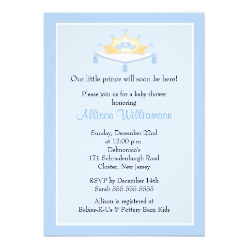 sweet prince crown boy baby shower invitation 5 x 7 invitation ca