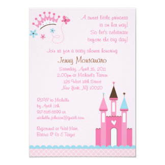 "Sweet Princess Baby Girl Baby Shower Invitations 5"" X 7"" Invitation Card"