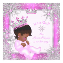 Sweet Princess Baby Shower Snowflake Pink Ethnic Card