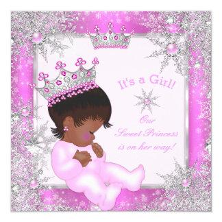Sweet Princess Baby Shower Snowflake Pink Ethnic Card