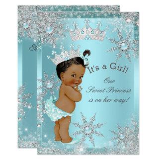 Sweet Princess Girl Baby Shower Teal Ethnic Card
