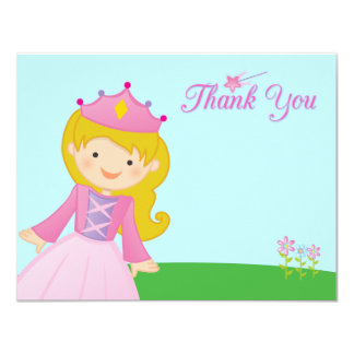 Sweet princess girl's birthday thank you flat card