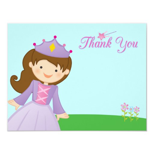 Sweet princess girl's birthday thank you flat card personalized invitations