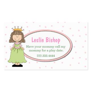 Sweet Princess Play Date Card Business Card Template