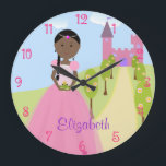 """Sweet Princess With Black Braid Personalized Large Clock<br><div class=""""desc"""">The perfect room decoration for your sweet little princess.  Easy to customize if desired. Change the font color and style by using Customize it! and selecting the edit feature. Original vector art by Night Owl&#39;s Menagerie,  2013.</div>"""