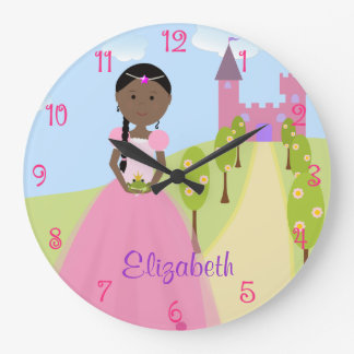 Sweet Princess With Black Braid Personalized Large Clock