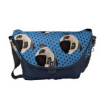 Sweet Pug on Blue Polka Dots Courier Bags