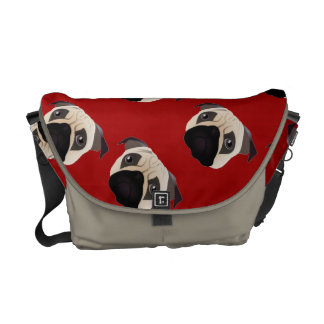 Sweet Pug on Bright Red Commuter Bag