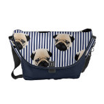 Sweet Pug on Navy Blue Stripes Courier Bags