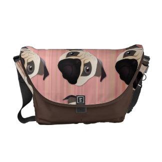 Sweet Pug on Pink Stripes Courier Bag